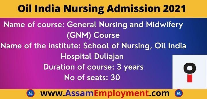 OIL India Nursing Admission